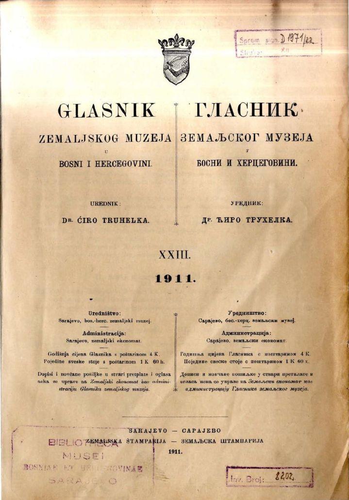 Glasnik Zemaljskog muzeja, Sarajevo, 1911.